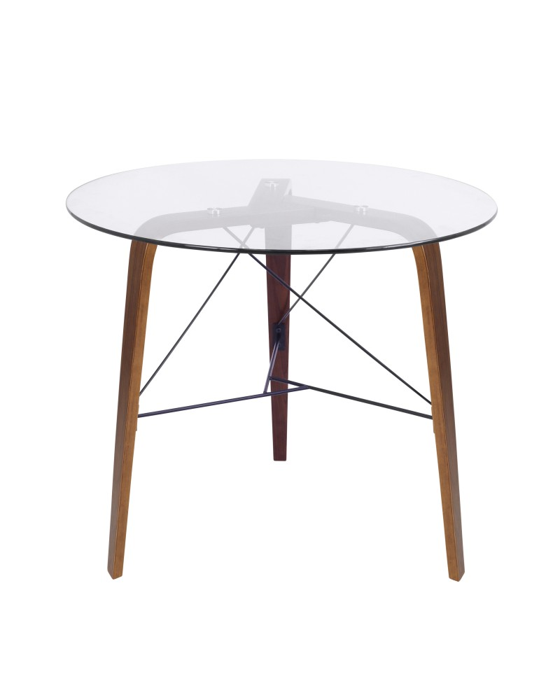 Trilogy Contemporary Round Dining Table in Walnut Wood and Clear Glass
