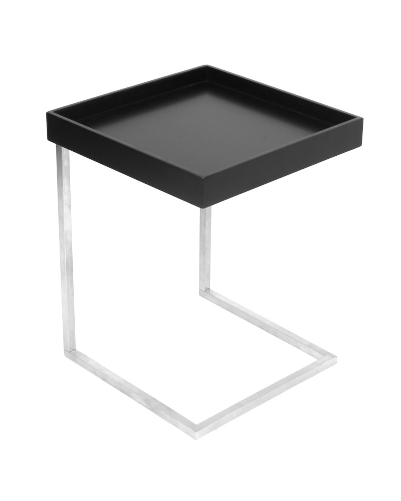 Zenn Contemporary End Table with Removable Tray in Black